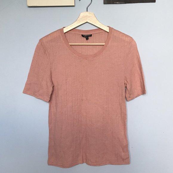 Topshop Pink Ribbed Top